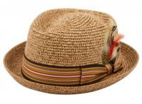 STRAW FEDORA HATS WITH STRIPE BAND & FEATHER F1860