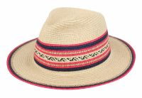 PAPER STRAW BRAID FEDORA HATS WITH COLOR EDGE & BAND F2263