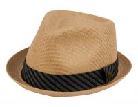 SMALL BRIM STRAW FEDORA HATS WITH FABRIC BAND F2269