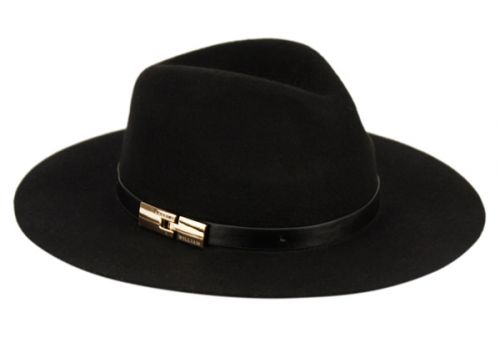 LADIES WIDE BRIM FELT FEDORA W/PU BAND AND BUCKLE F2276
