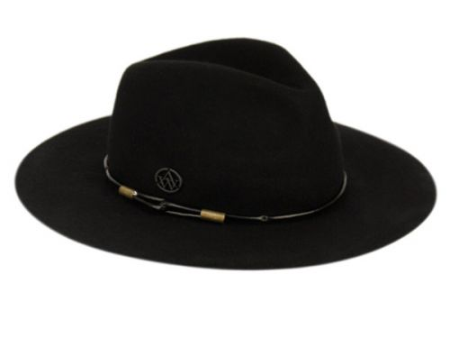 LADIES WIDE BRIM FELT FEDORA W/THIN ROUND PU BAND F2280