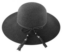 LADIES POLYESTER FELT FLOPPY HAT WITH FAUX LEATHER BAND F2390