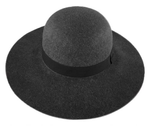 LADIES POLYESTER FELT FLOPPY HAT WITH GROSSGRAIN BAND F2391
