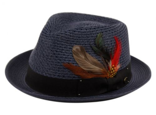 POLY BRAID FEDORA HATS WITH BAND & FEATHER F2682