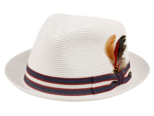 POLY BRAID FEDORA HATS WITH BAND & FEATHER F2692