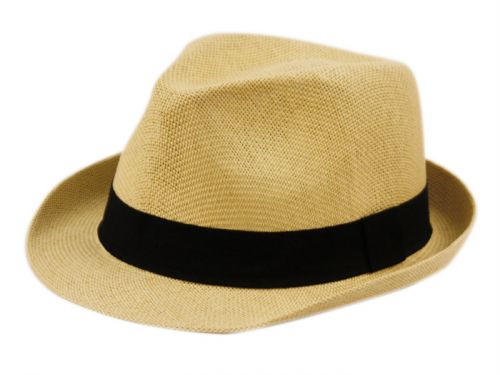 ROLL UP BRIM STRAW FEDORA HATS WITH GROSGRAIN BAND F2781