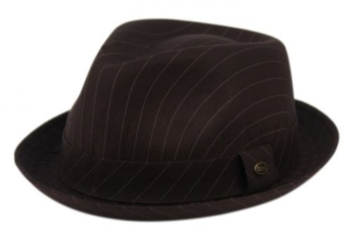 STRIPE FABRIC LIGHT WEIGHT FEDORA WITH BAND F2783