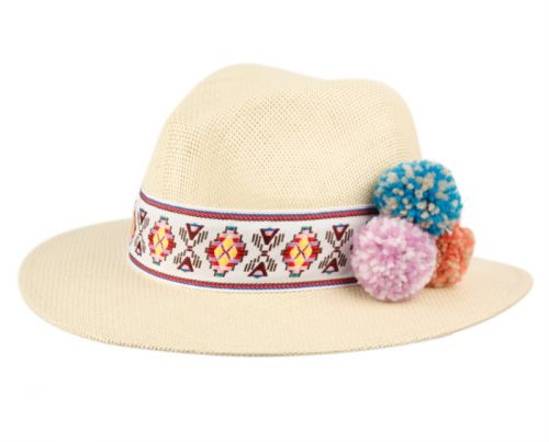LADIES PANAMA HAT WITH BAND & FLOWER TRIM F2799