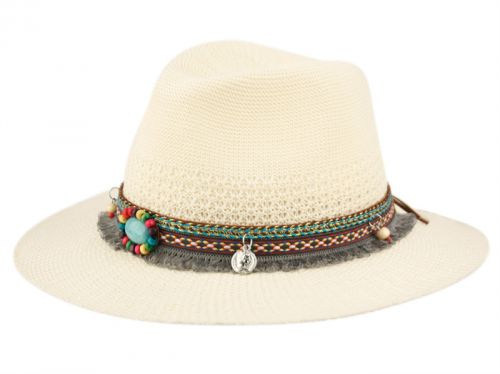 LADIES POLY FEDORA WITH TRIM BAND F2800
