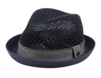 STRAW PAPER FEDORA HATS WITH FABRIC BAND F2804