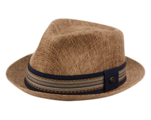 LINEN/COTTON FEDORA HATS WITH FABRIC STRIPE BAND F2805
