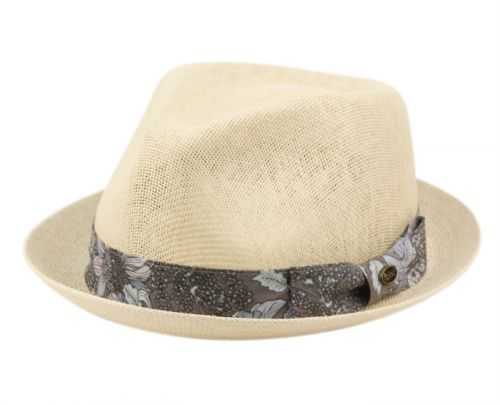 STRAW PAPER FEDORA HATS WITH FLORAL BAND F2806