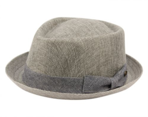 LINEN/COTTON FEDORA HATS WITH BAND F2807