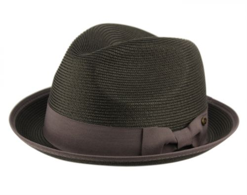 POLY BRAID FEDORA HATS WITH BAND & FABRIC EDGE F2808