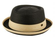POLY BRAID PORK PIE HATS WITH COLOR BAND F2809