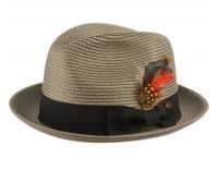 POLY BRAID FEDORA HATS WITH BAND & FEATHER F2810