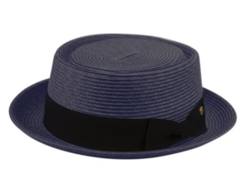 POLY BRAID PORK PIE HATS WITH GROSGRAIN BAND F2811