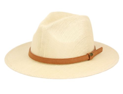 WOVEN PAPER STRAW PANAMA HATS WITH LEATHER BAND F4001