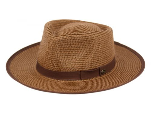 BRAID PAPER STRAW FEDORA HATS WITH FABRIC BAND F4008