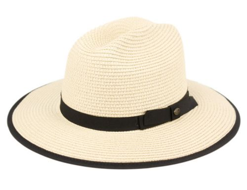 BRAID PAPER STRAW FEDORA HATS WITH FABRIC BAND & EDGE F4009