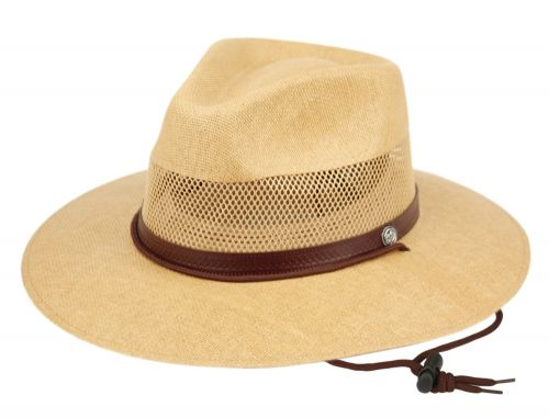 WOVEN PAPER STRAW PANAMA HATS WITH LEATHER BAND F4011