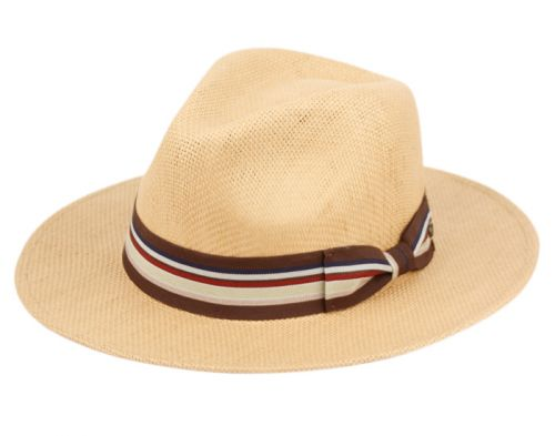 WOVEN PAPER STRAW PANAMA HATS WITH STRIPE BAND F4013