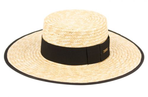 BRAID NATURAL STRAW BOATER HATS W/FABRIC EDGE F4029