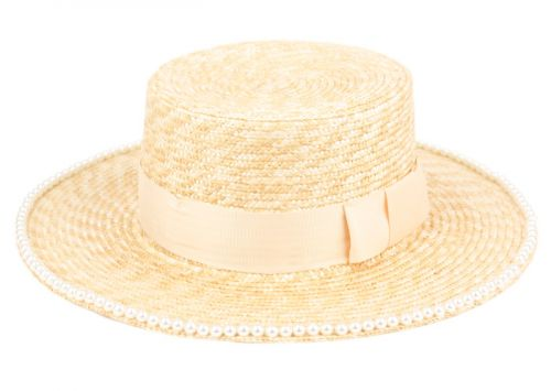 BRAID NATURAL STRAW BOATER HATS W/BEADED EDGE F4030