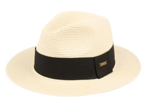 WOVEN PAPER STRAW PANAMA HATS WITH BLACK BAND F4043