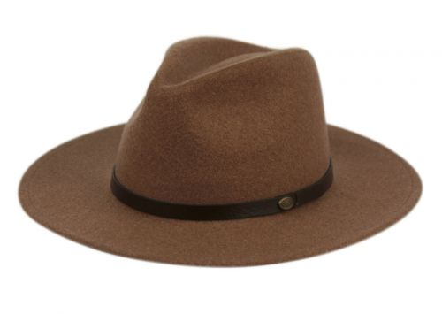 WOOL BLEND OUTBACK FEDORA HATS WITH FAUX LEATHER BAND F4094