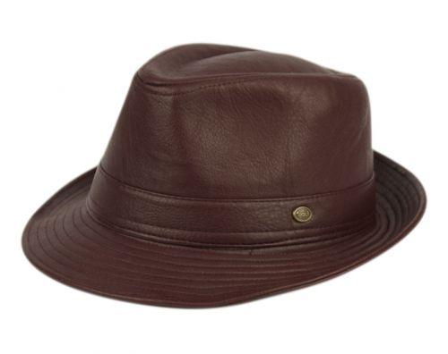 FAUX LEATHER FEDORA HATS F4095