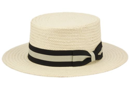 RICHMAN BROTHERS STRAW BOATER HATS WITH STRIPE BAND F4107NAT