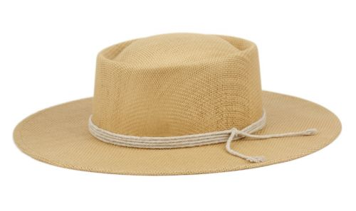 WIDE FLAT BRIM PORK PIE STRAW HATS W/STRING BAND F4111