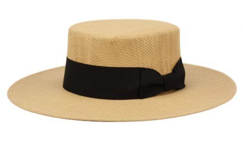 WIDE FLAT BRIM & CROWN STRAW HATS W/BAND F4115