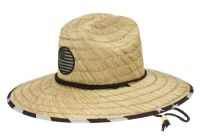 WIDE BRIM STRAW FEDORA HATS WITH USA FLAG BADGE & PRINTS F4117