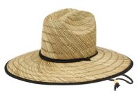 WIDE BRIM STRAW FEDORA HATS WITH FABRIC STRING BAND & EDGE F4118