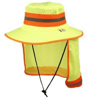 OUTDOOR CAMPING MESH CROWN BUCKET HAT W/NECK FLAP COVER F4120