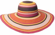 STRAW BRAID STRIPE FLOPPY HATS FL1136