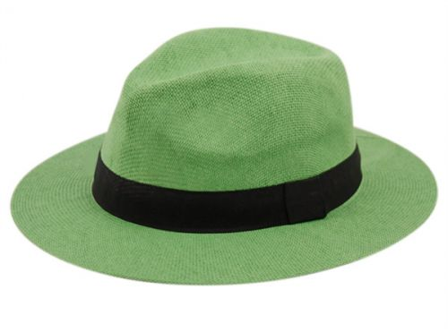 PAPER STRAW PANAMA HATS WITH GROSGRAIN BAND F2025