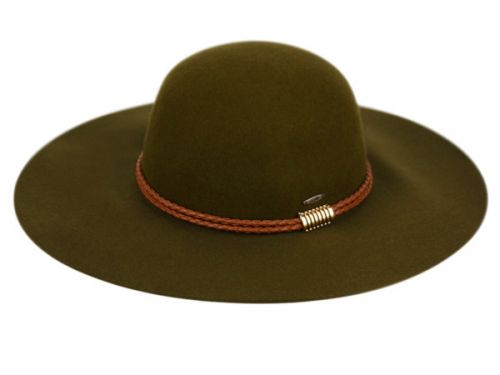 LADIES WIDE BRIM FELT FLOPPY W/BRAID PU BAND AND METAL TRIM FL2284