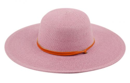 BRAID STRAW FLOPPY HATS WITH LEATHER BAND FL2403
