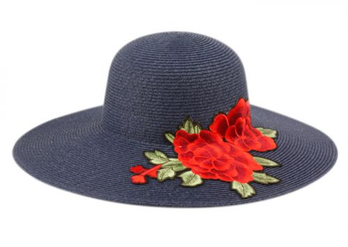 BRAID STRAW FLOPPY HATS WITH FLORAL EMBROIDERY FL2913