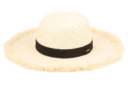 RAFFIA STRAW RAW EDGE FLOPPY HATS WITH GROSGRAIN BAND FL4017