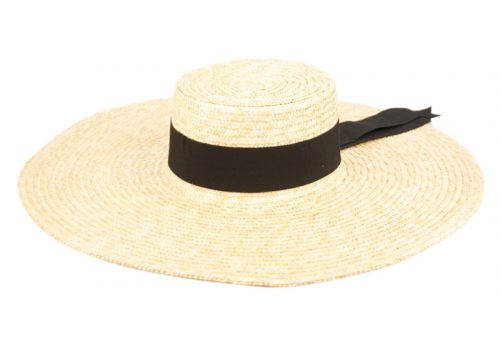 NATURAL STRAW WIDE BRIM FLOPPY W/GROSGRAIN BAND FL4027