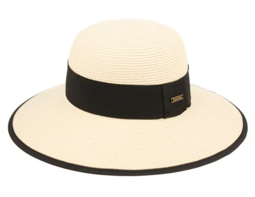PAPER STRAW SUN BUCKET HATS W/GROSGRAIN BAND & FABRIC EDGE FL4040