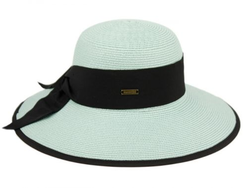 PAPER STRAW SUN FLOPPY HATS W/GROSGRAIN BAND & FABRIC EDGE FL4041