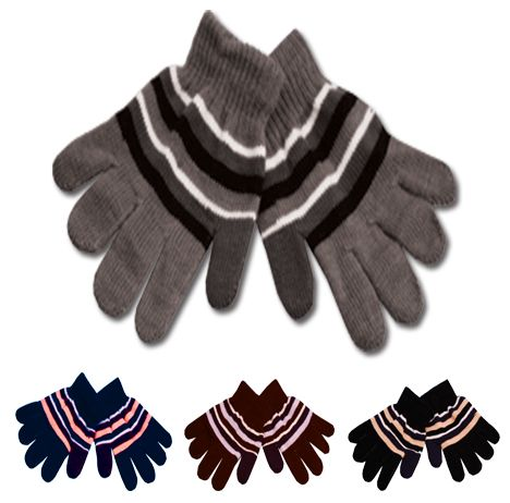 KIDS KNIT STRIPE GLOVE GL1747
