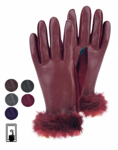 LADIES FAUX LEATHER GLOVE W/SCREEN TOUCH GL2168