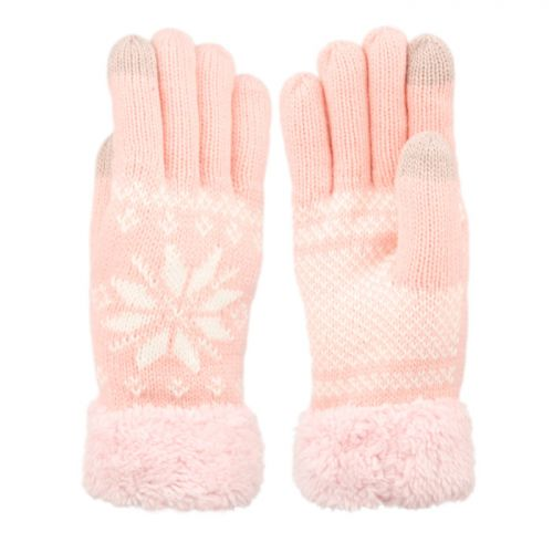 SNOWFLAKE WINTER KNIT GLOVES W/SCREEN TOUCH GL3012WOMEN