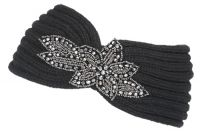 FASHION KNIT HEADBAND WITH SEQUENCE FLOWER TRIM HB1973BK